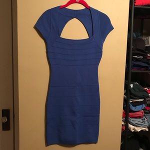 Blue Bandage Style Keyhole Back Dress